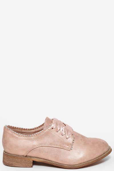 Silver Beads Details Satin Laces Pink Shoes