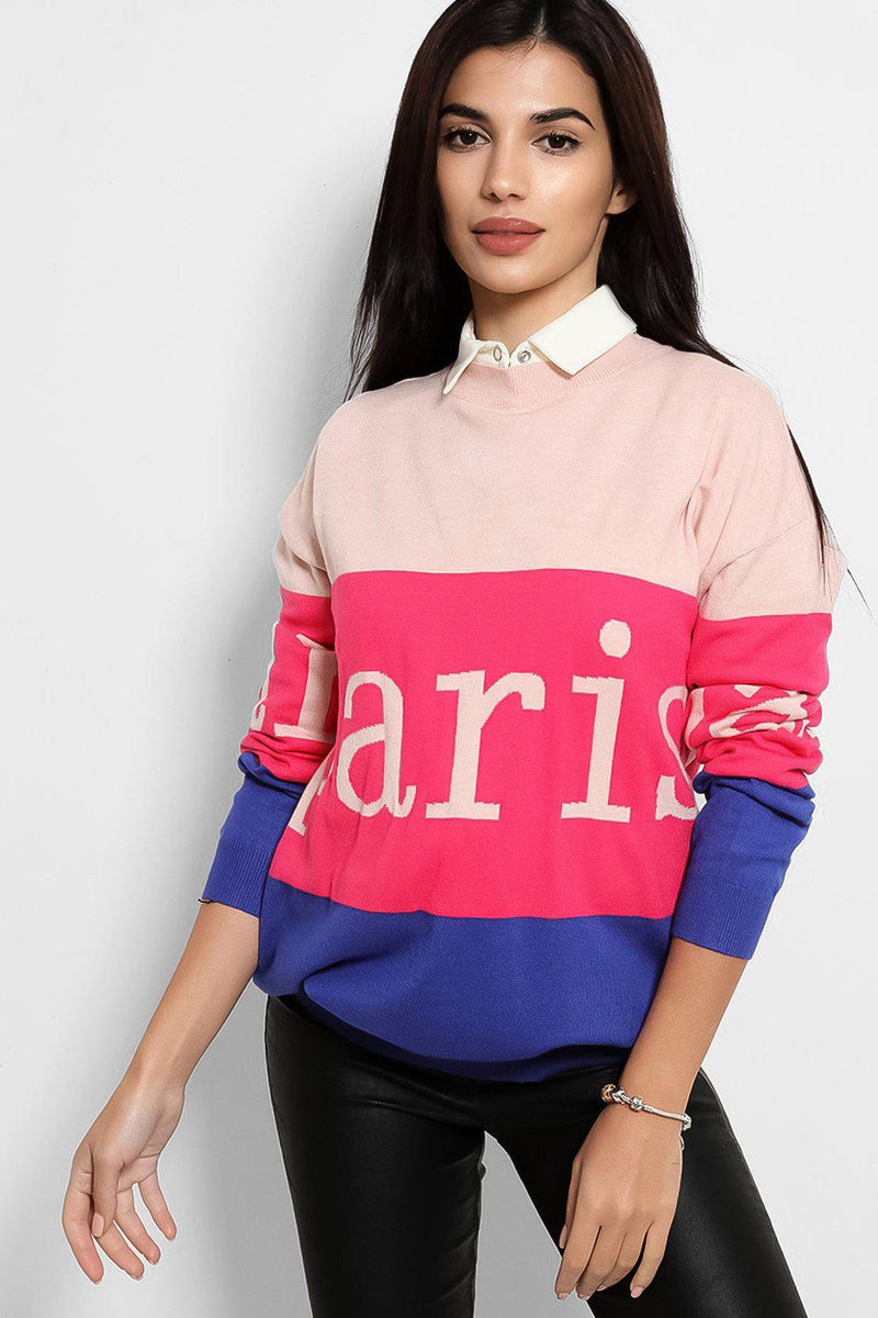 Pink Blue Colour Block Paris Pullover - SinglePrice