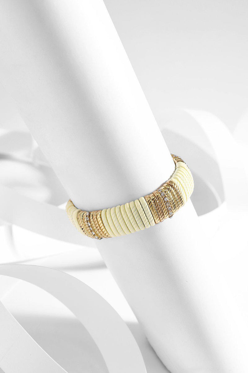 Cream And Gold Beads Stretch Bracelet - SinglePrice