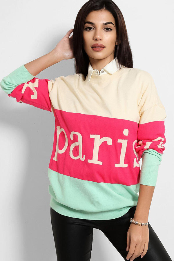 Beige Green Colour Block Paris Pullover - SinglePrice