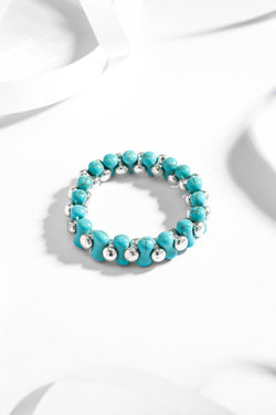 Turquoise And Silver Beads Stretch Bracelet - SinglePrice