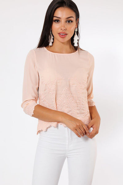 Embroidered Detail Front Rose Blouse-SinglePrice