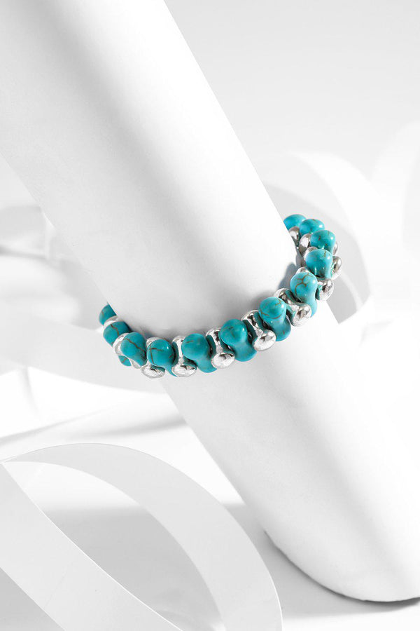 Turquoise And Silver Beads Stretch Bracelet-SinglePrice