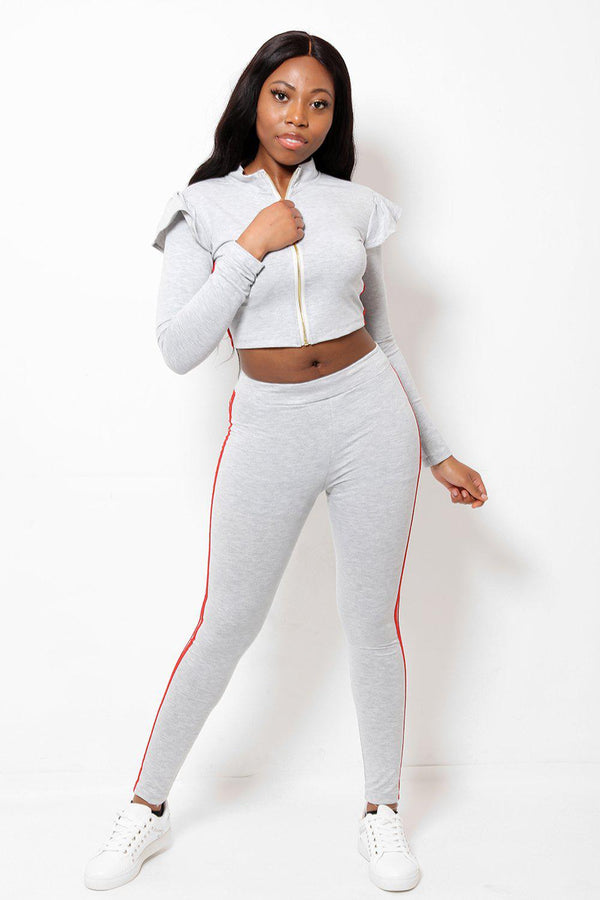 Double Red Stripe Frill Shoulder 2 Piece Tracksuit - SinglePrice
