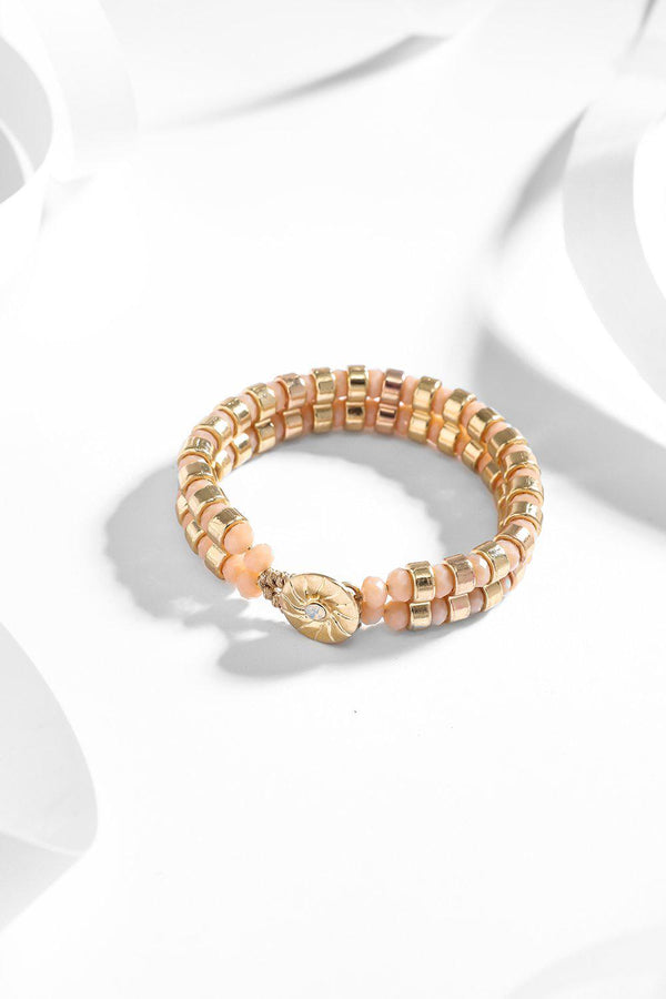 Pink And Gold Beads Buttoned Bracelet-SinglePrice