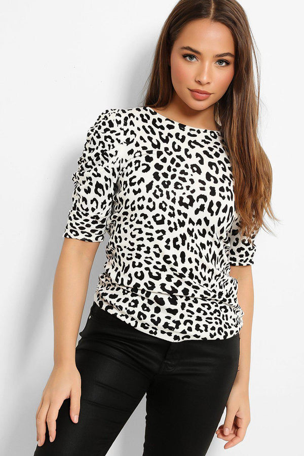 Black White Leopard Print Puff Sleeves Flat Knit Top