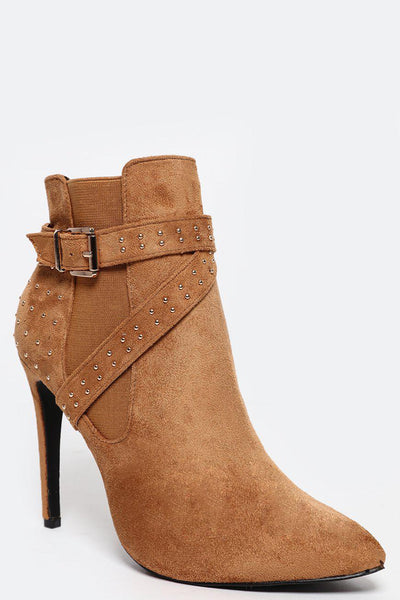 Mini Studs Straps Camel Ankle Boot-SinglePrice