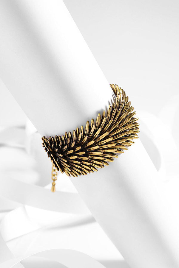 Gold Layered Feathers Bracelet - SinglePrice