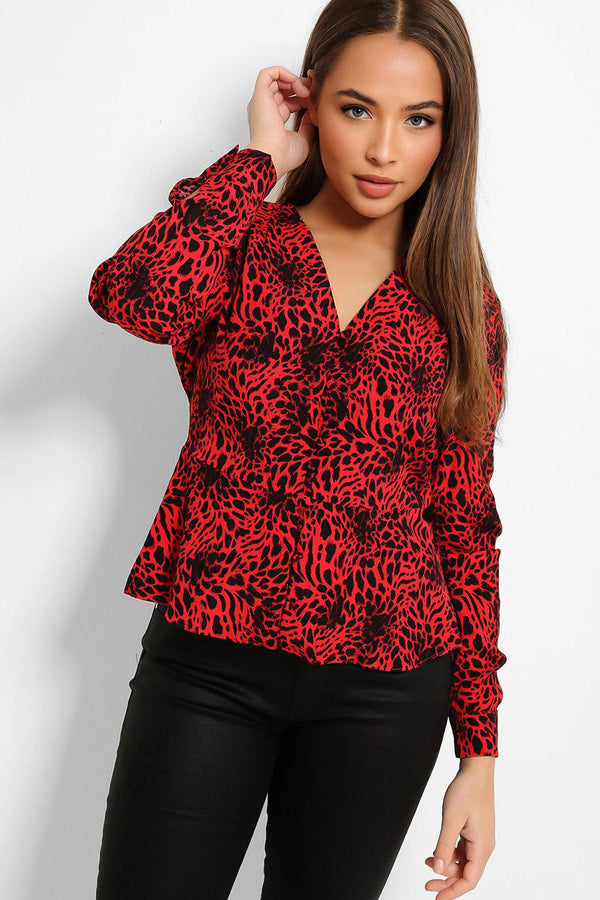 Red Leopard Print Buttons Front Shirt Blouse - SinglePrice