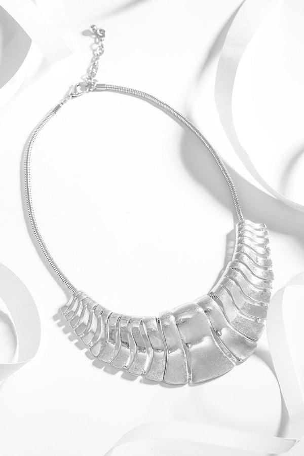 Silver Large Cut Out Plates Necklace - SinglePrice
