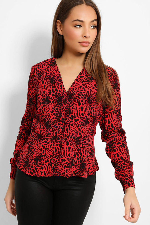 Red Leopard Print Buttons Front Shirt Blouse