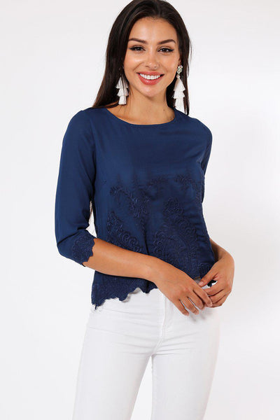 Embroidered Detail Front Navy Blouse-SinglePrice