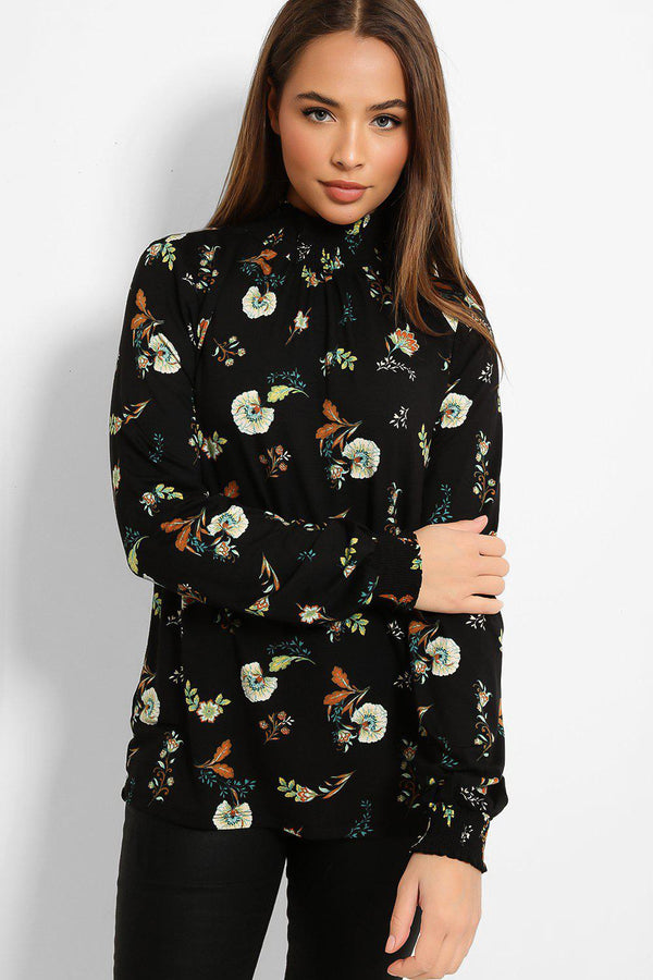 Black Flowers Print High Neck Blouse
