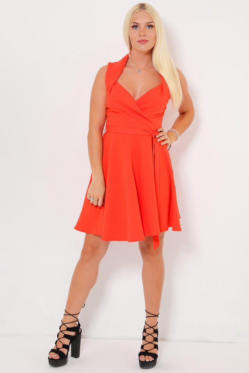 Sleeveless Sweetheart Orange Skater Dress - SinglePrice