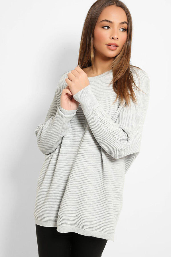Light Grey Scoop Neck Ribbed Knit Pullover