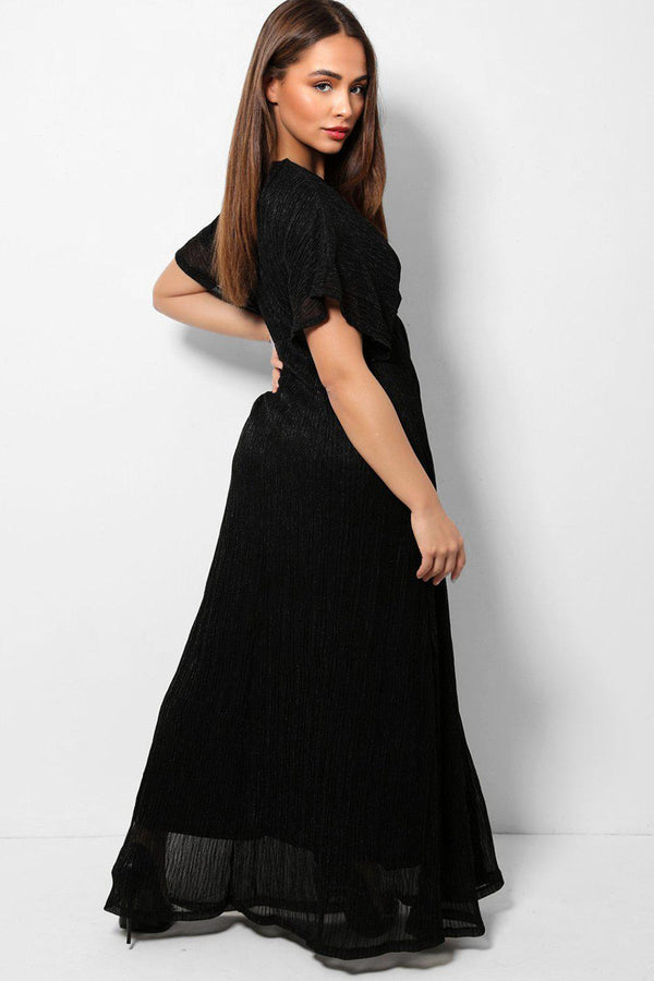 Lurex Stripes Black Sheer Maxi Dress - SinglePrice