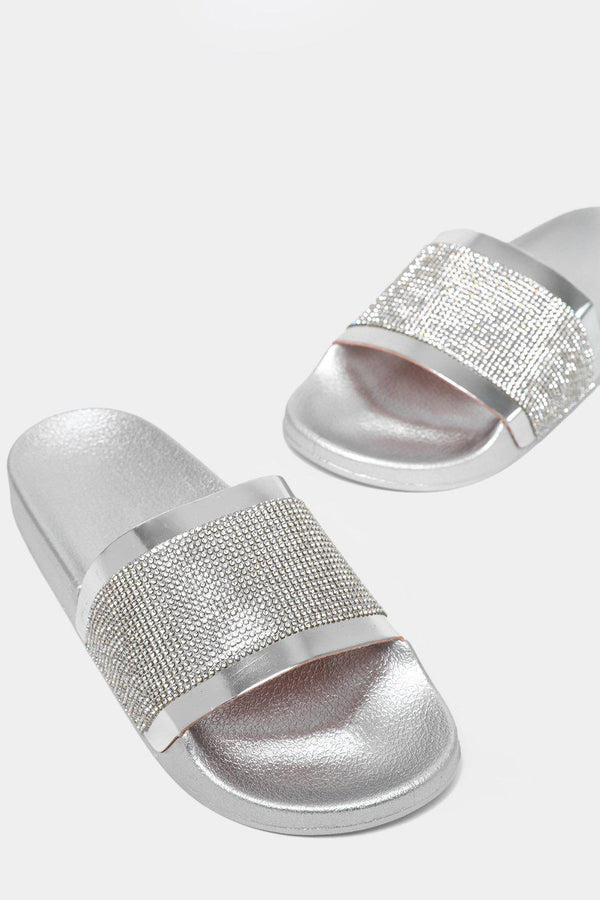 Mirror Crystals Embellished Silver Sliders-SinglePrice