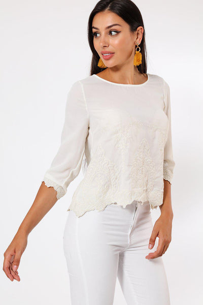 Embroidered Detail Front Beige Blouse-SinglePrice