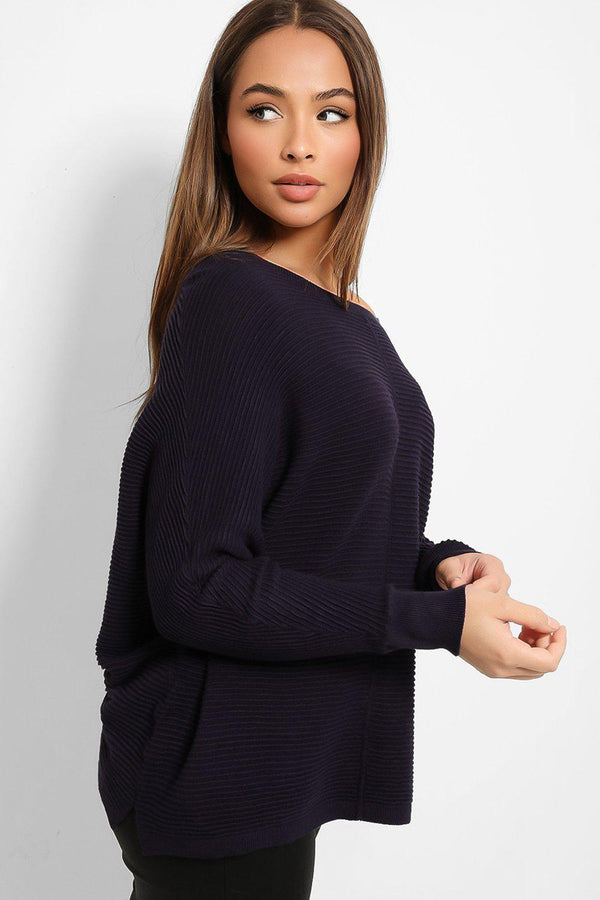 Navy Scoop Neck Ribbed Knit Pullover-SinglePrice