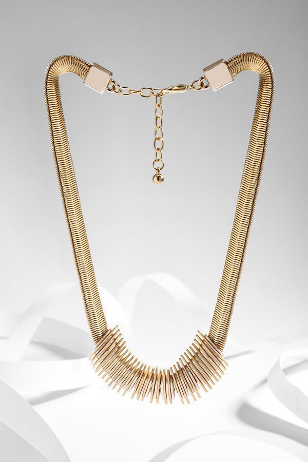 Gold Metallic Snake Chain Slider Necklace-SinglePrice