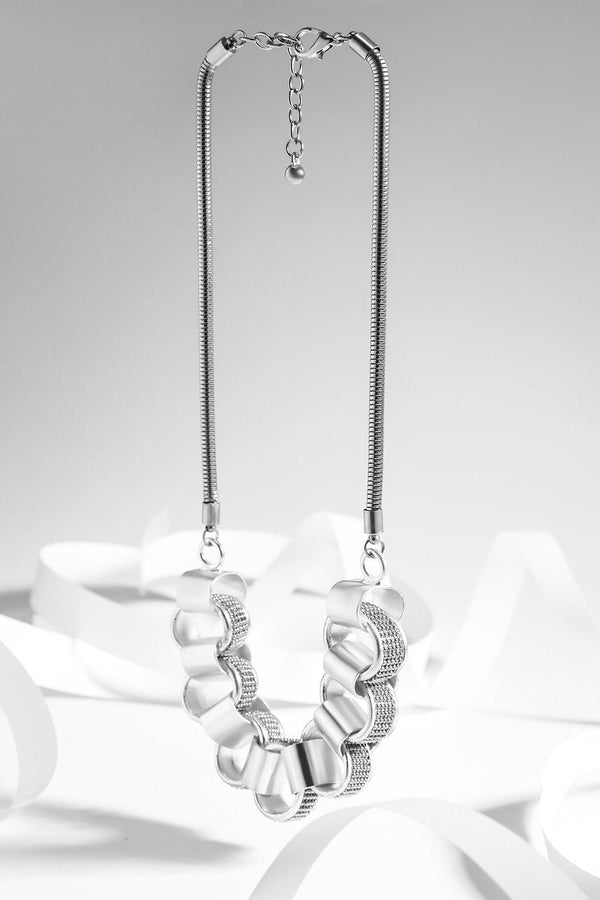 Silver Large Beaded Links Necklace-SinglePrice