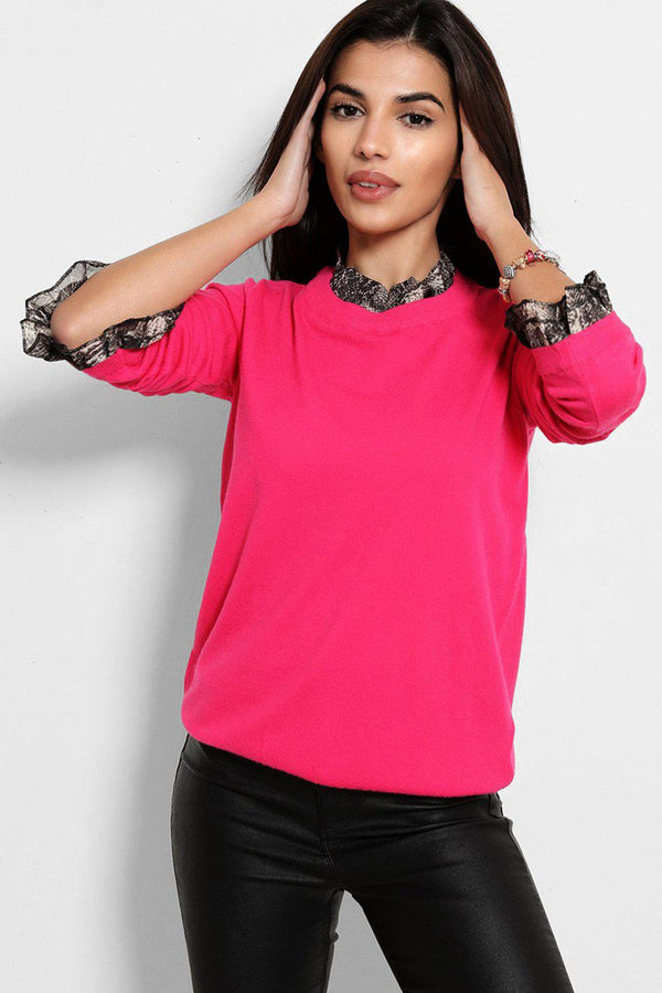 Hot Pink Python Print Shirt Insert Pullover - SinglePrice