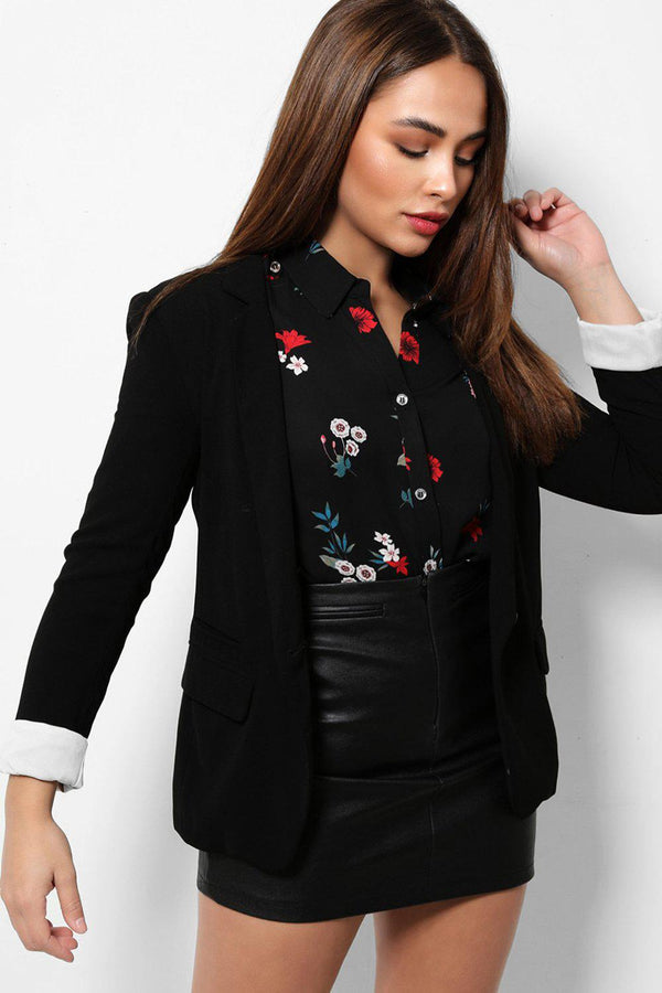 Contrast Rolled Sleeves Black Smart Blazer-SinglePrice