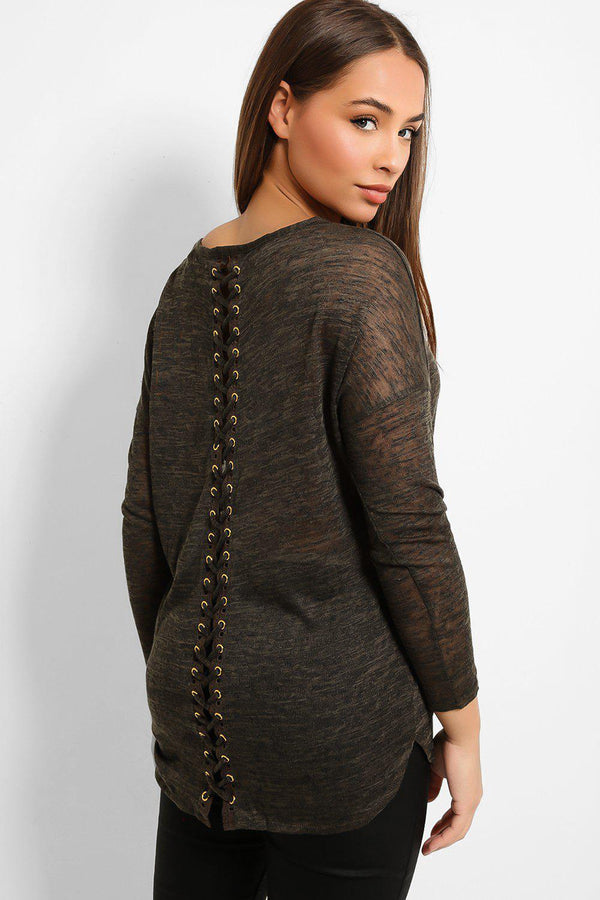 Khaki Sheer Textured Laced Back Top - SinglePrice
