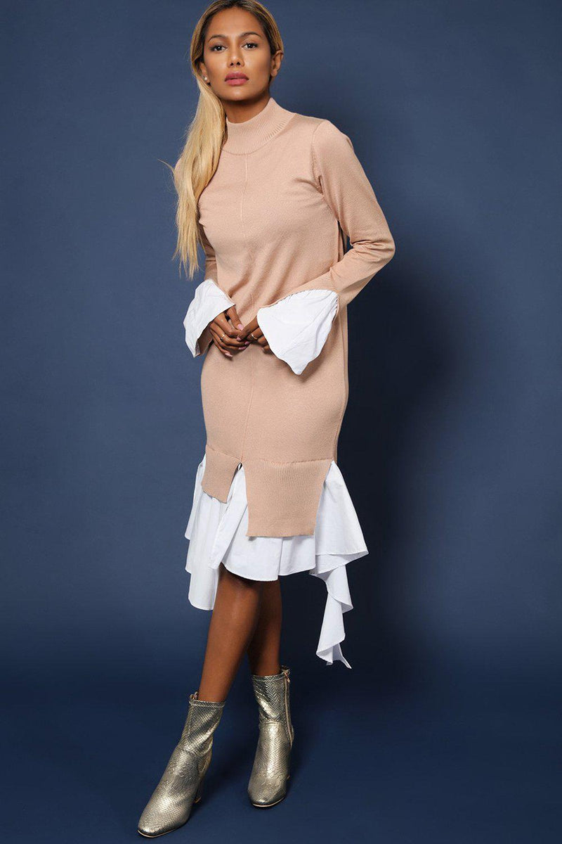 Beige High Neck Shirt Hem Knitted Midi Dress - SinglePrice