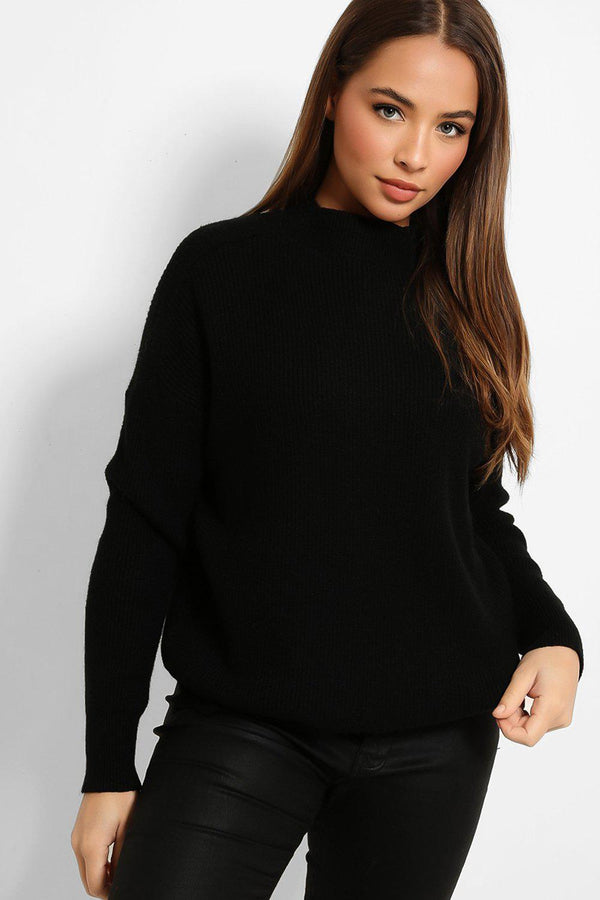 Absolute Black Rib Knit Batwing Pullover