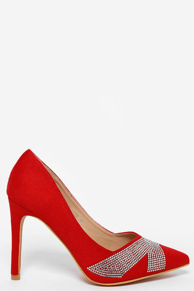 Crystals Embellished Point Toe Red Heels