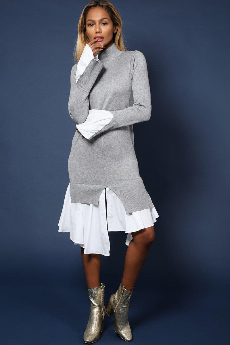Grey High Neck Shirt Hem Knitted Midi Dress - SinglePrice