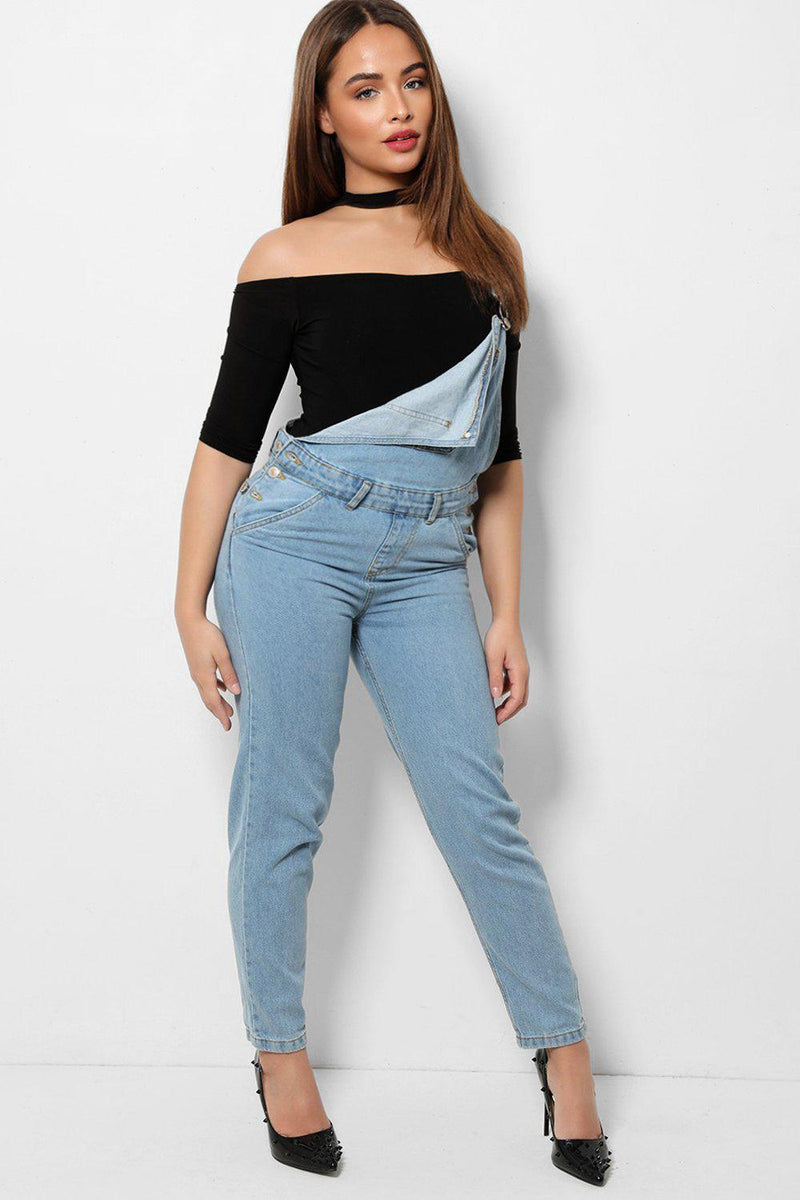Light Blue Tapered Leg Button Sides Denim Dungaree - SinglePrice
