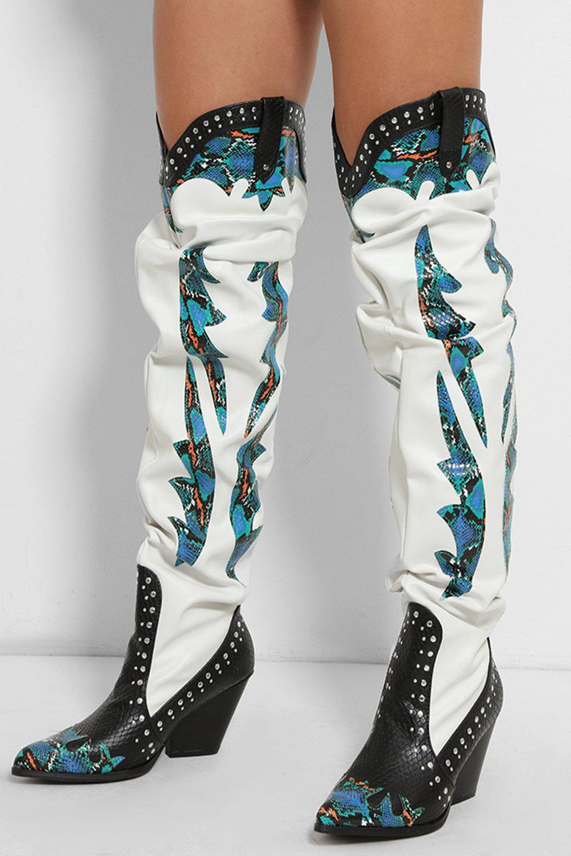White Blue Python Print Panels Over The Knee Cowboy Boots - SinglePrice