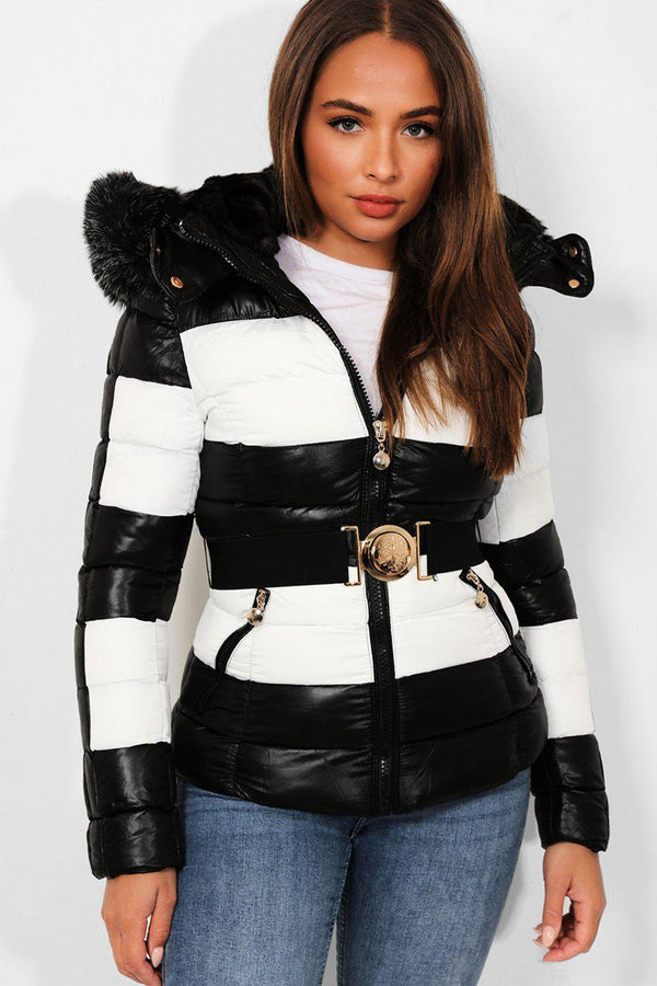 Black White Belted Padded Biker Jacket - SinglePrice