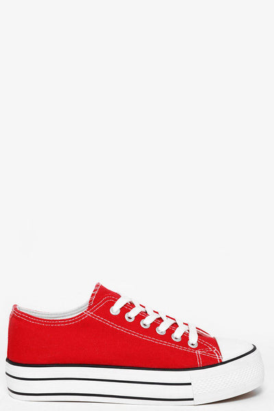 White Platform Red Trainers-SinglePrice
