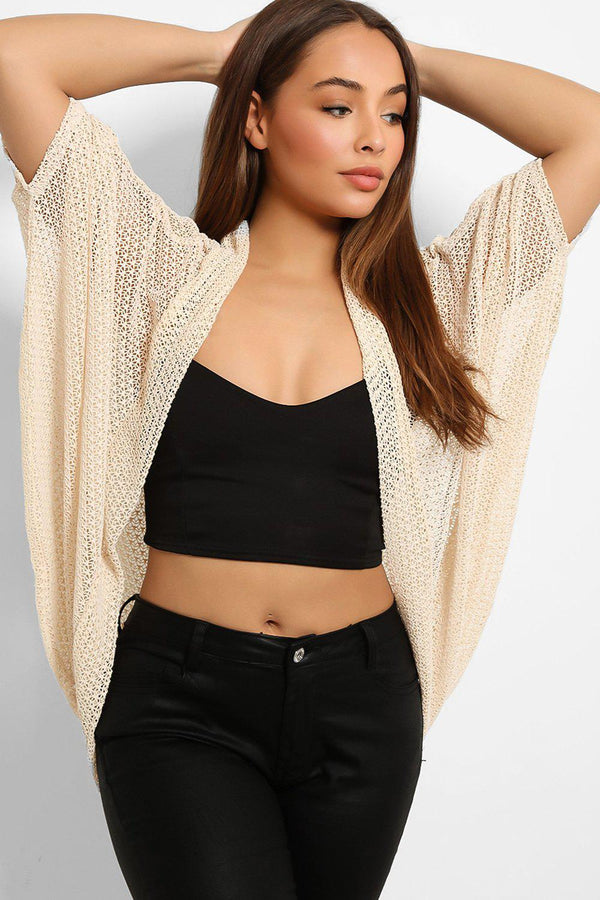Beige Sheer Web Knit Cardigan