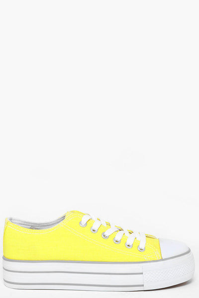 White Platform Fluorescence Yellow Trainers-SinglePrice