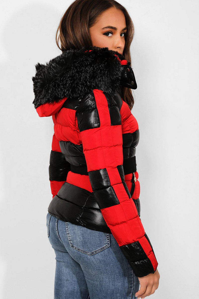 Black Red Belted Padded Biker Jacket - SinglePrice