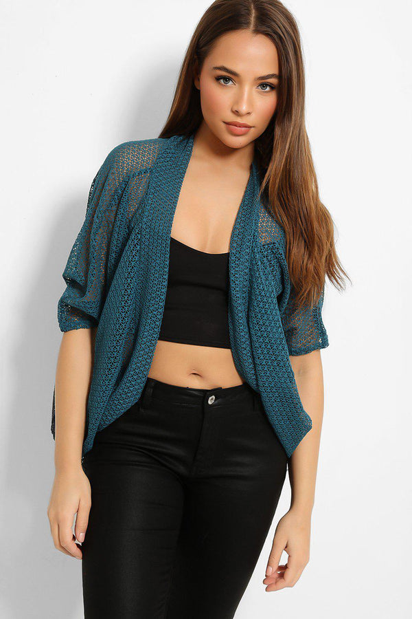 Teal Sheer Web Knit Cardigan