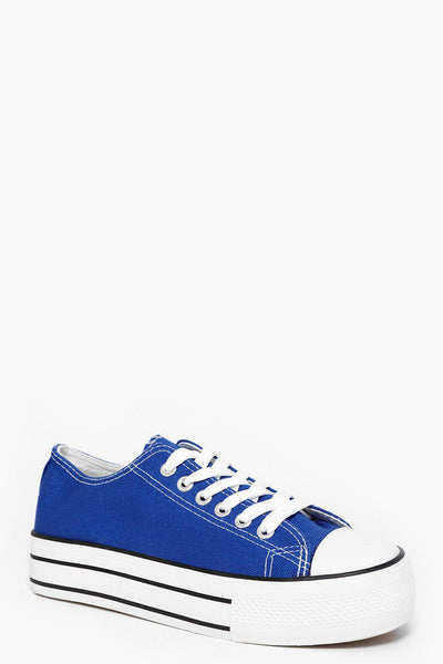 White Platform Royal Blue Trainers-SinglePrice