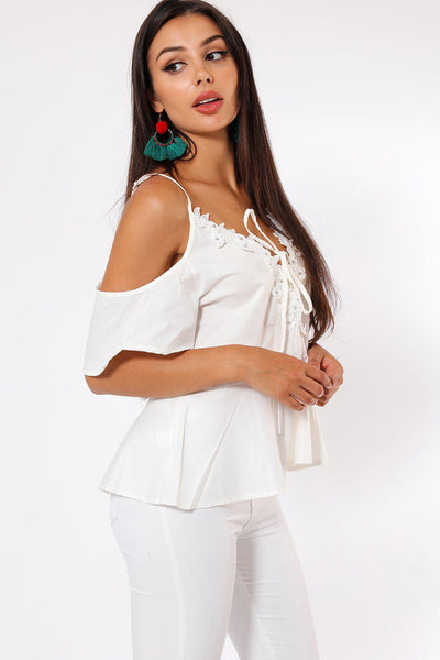 Embellished Cold Shoulder White Blouse-SinglePrice