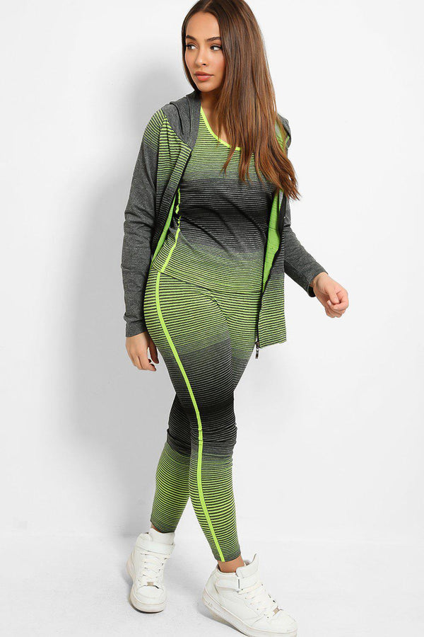 Lime Colour Stripes Super Stretch 3 Piece Hooded Set-SinglePrice