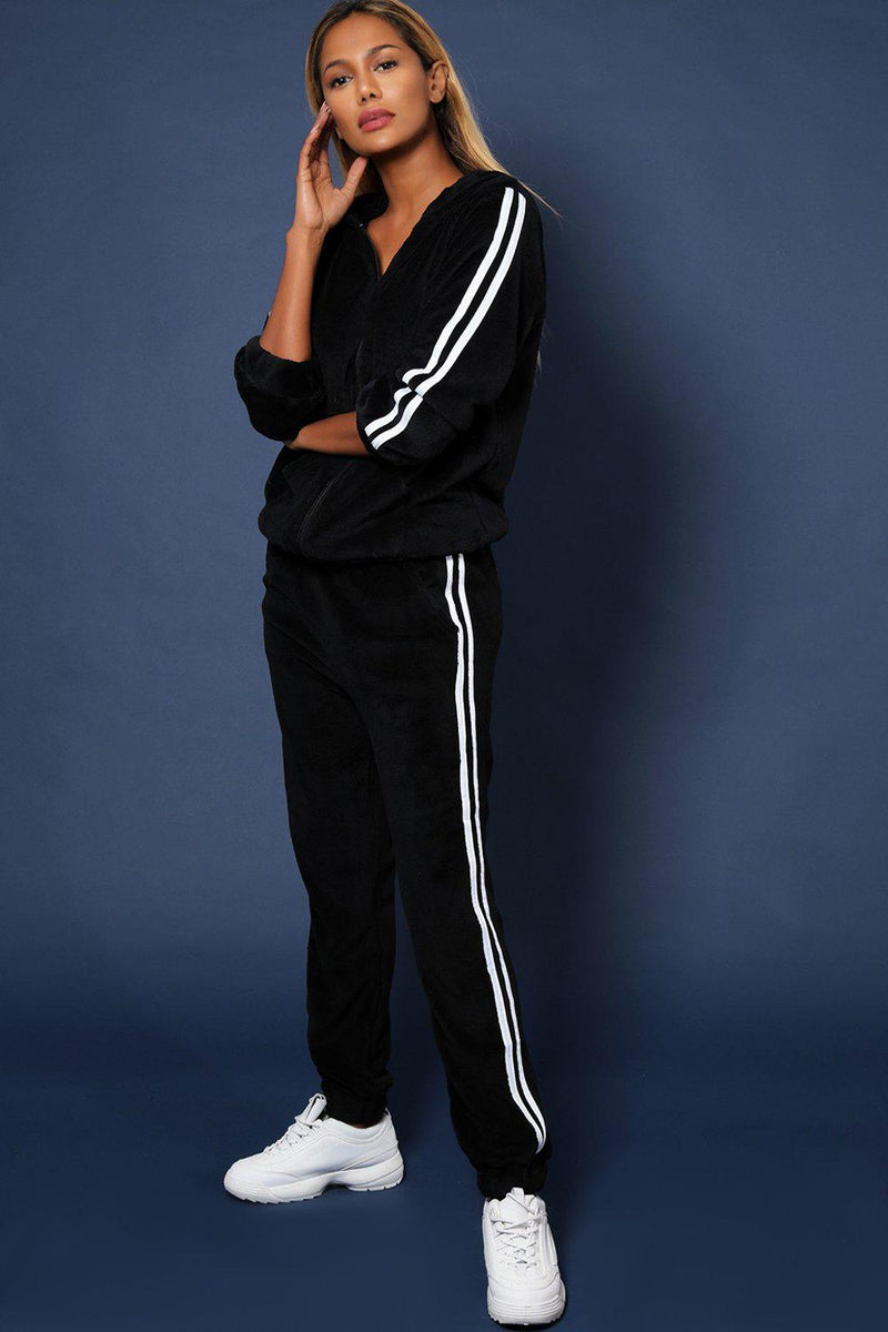 Twin White Stripe Super-Fluffy Black 2 Piece Tracksuit - SinglePrice
