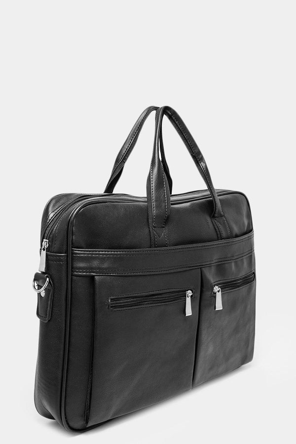 Black Multipocket Vegan Leather Large Business Bag-SinglePrice
