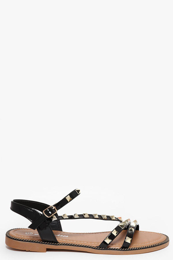 Studded Strappy Flat Black Sandals-SinglePrice