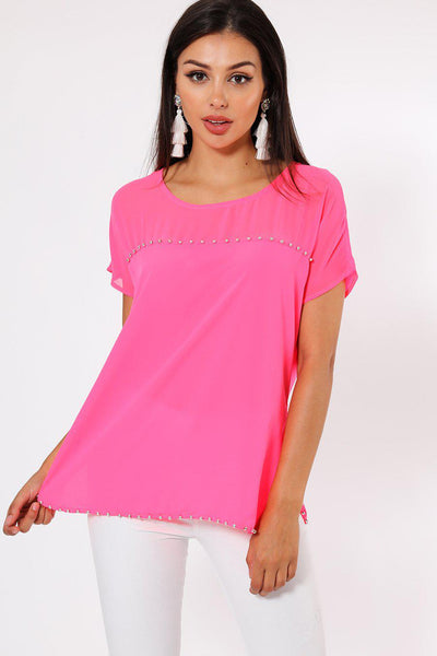 Silver Beads Trim Pink Chiffon Top-SinglePrice