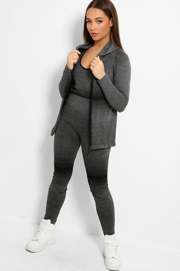 Black Colour Stripes Super Stretch 3 Piece Hooded Set