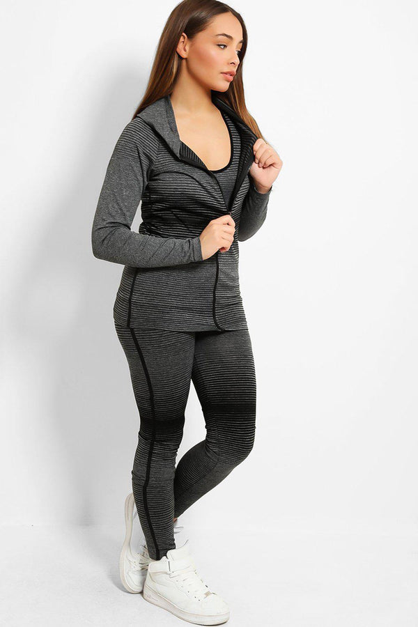 Black Colour Stripes Super Stretch 3 Piece Hooded Set-SinglePrice