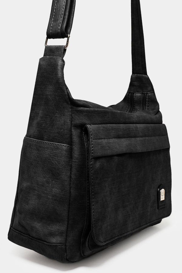 All Black Front Flap Pocket Vintage Messenger Bag-SinglePrice